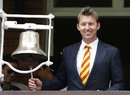 Brett Lee rings the five-minute bell ahead of the start of play on the second day,England v Australia, 2nd Investec Ashes Test, Lord's, 2nd day, July 17, 2015