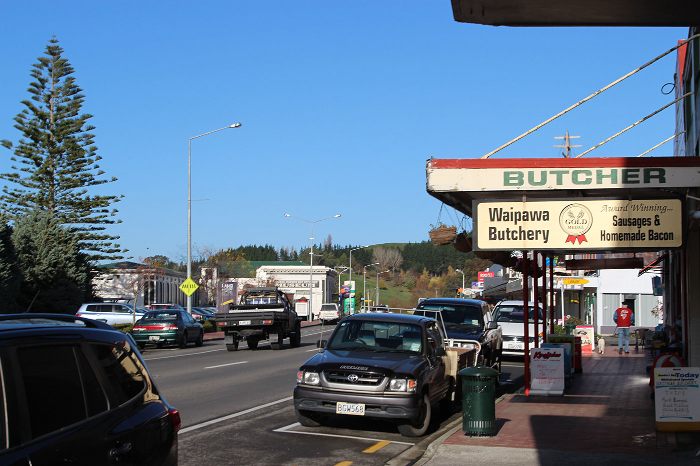 An unlikely batsman's paradise: a street in Waipawa