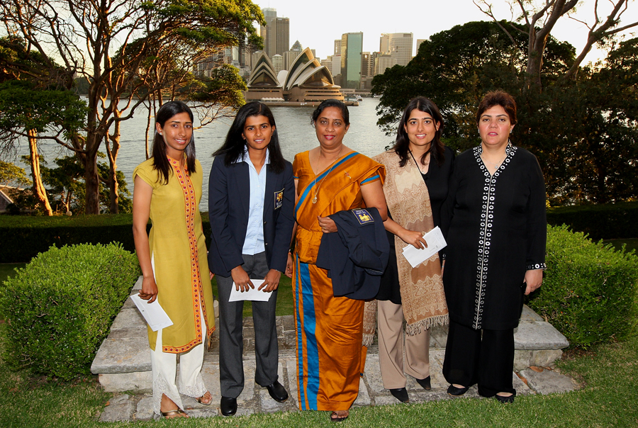 Mir (second from right) with Urooj Mumtaz (extreme left), the player from whom she inherited her team, at the 2009 World Cup in Sydney. Also present are (from left) Sri Lanka captain Shashikala Siriwardene and Sri Lanka and Pakistan team officials