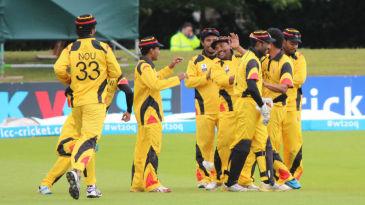 Mahuru Dai is mobbed by his team-mates