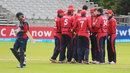 The Jersey players celebrate the dismissal of Binod Bhandari, Jersey v Nepal, World T20 Qualifier, July 18, 2015