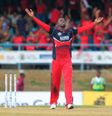 Derone Davis celebrates one of his three wickets, Trinidad & Tobago Red Steel v St Kitts and Nevis Patriots, CPL 2015, Port-of-Spain, July 18, 2015