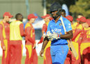 Sanju Samson walks back after being dismissed for 19, Zimbabwe v India, 2nd T20I, Harare, July 19, 2015