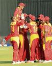 Graeme Creamer and his team-mates celebrate a wicket, Zimbabwe v India, 2nd T20I, Harare, July 19, 2015