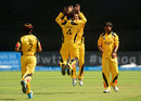 Tony Ura gets a leaping high-five from Charles Amini, Papua New Guinea v United States of America, World T20 Qulifier, Group A, Dublin, July 19, 2015