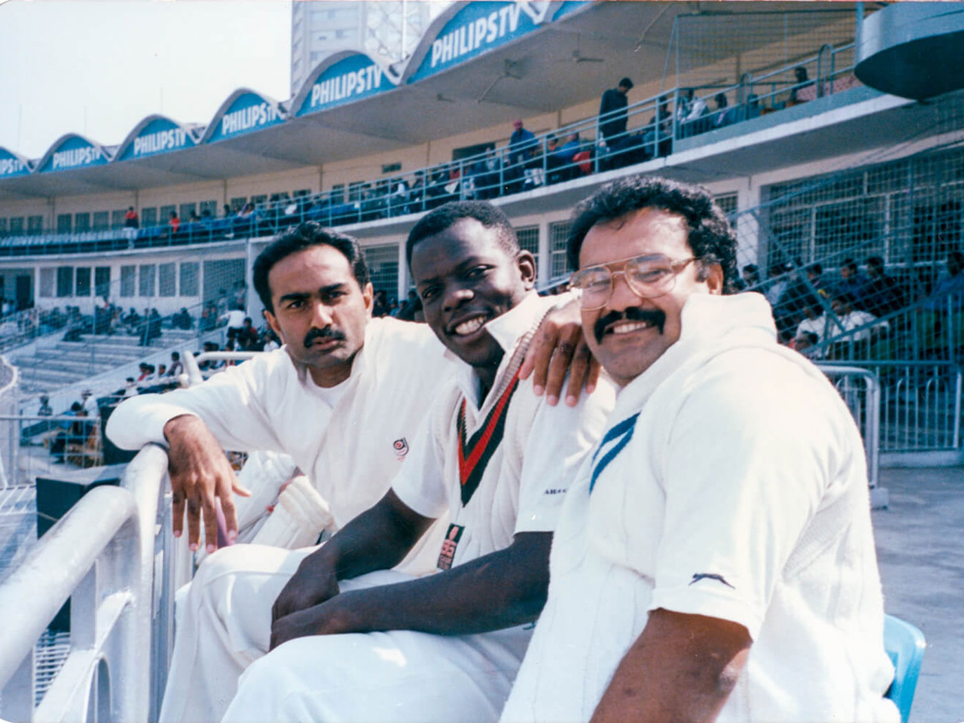 With team-mates Tito Odumbe and Tariq Iqbal in Bangladesh in 1995