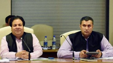 Rajiv Shukla and Anirudh Chaudhry attend the IPL governing council meet