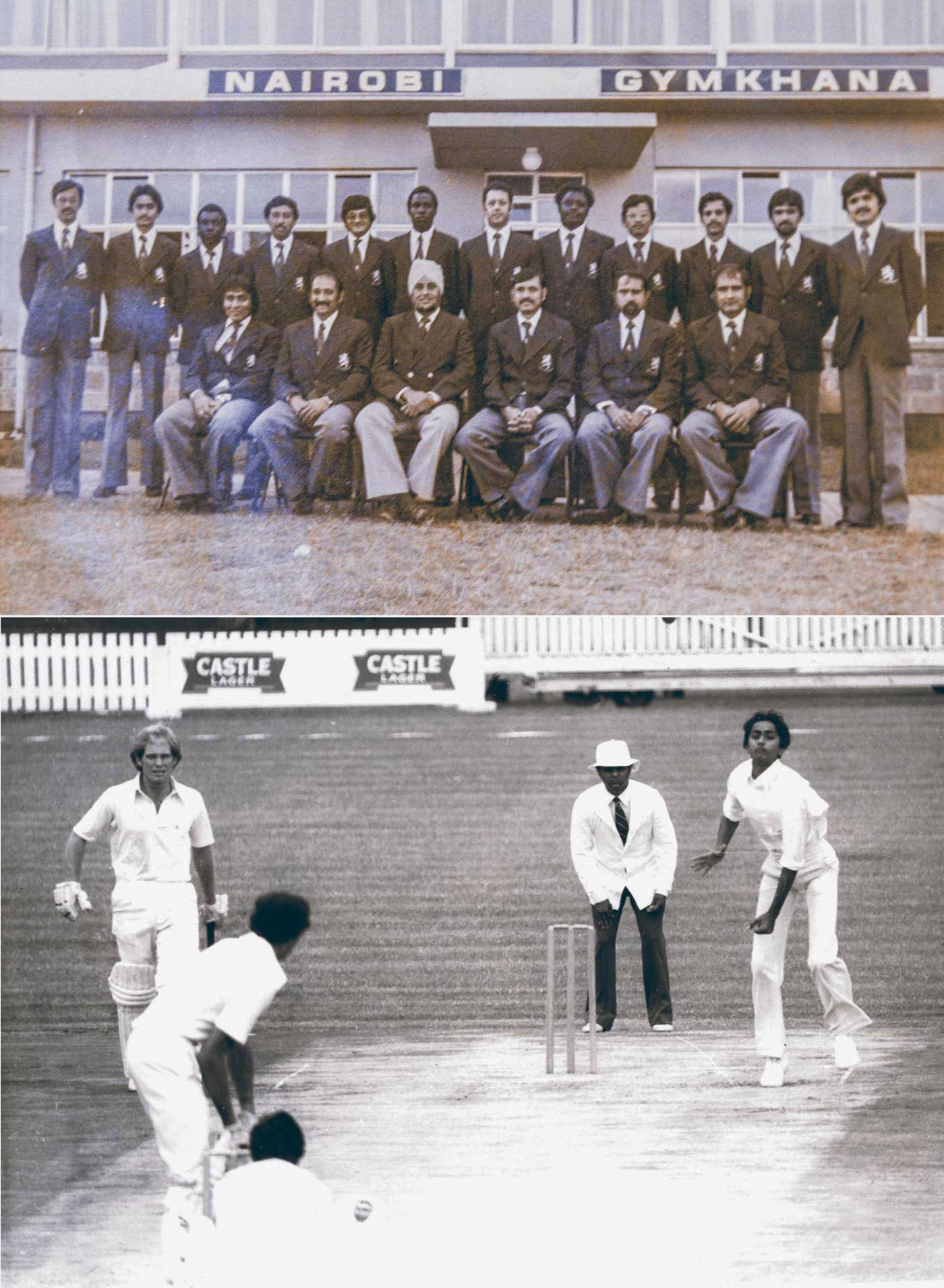 The Kenya line up for the 1980-81 tour of Zimbabwe. Aasif stands second from left (top); 17-year-old Aasif bowls in Zimbabwe in 1981 as non-striker Andy Pycroft looks on (bottom)