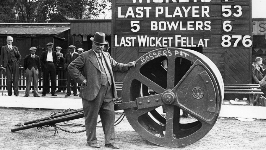 Oval groundsman Bosser Martin poses with his four-ton roller