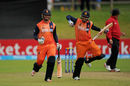 Mudassar Bukhari and Max O'Dowd celebrate after their win, Namibia v Netherlands, World T20, 2nd play-off,  Dublin, July 21, 2015