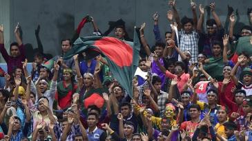 Bangladesh fans cheer their team on