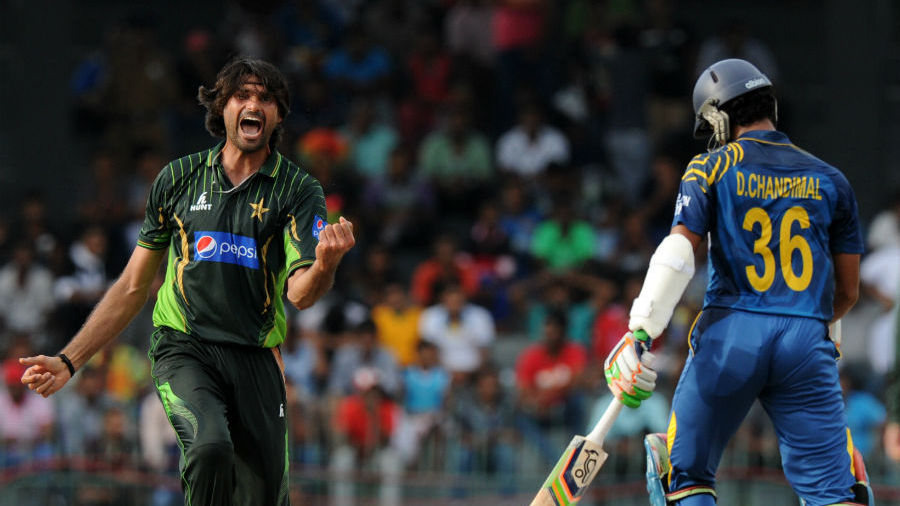 Mohammad Irfan exults after dismissing Dinesh Chandimal