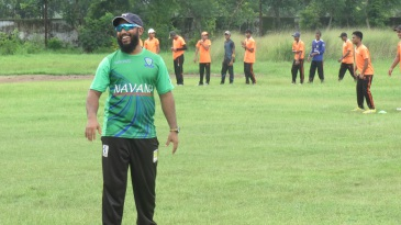 Aftab Ahmed during a training session at his academy