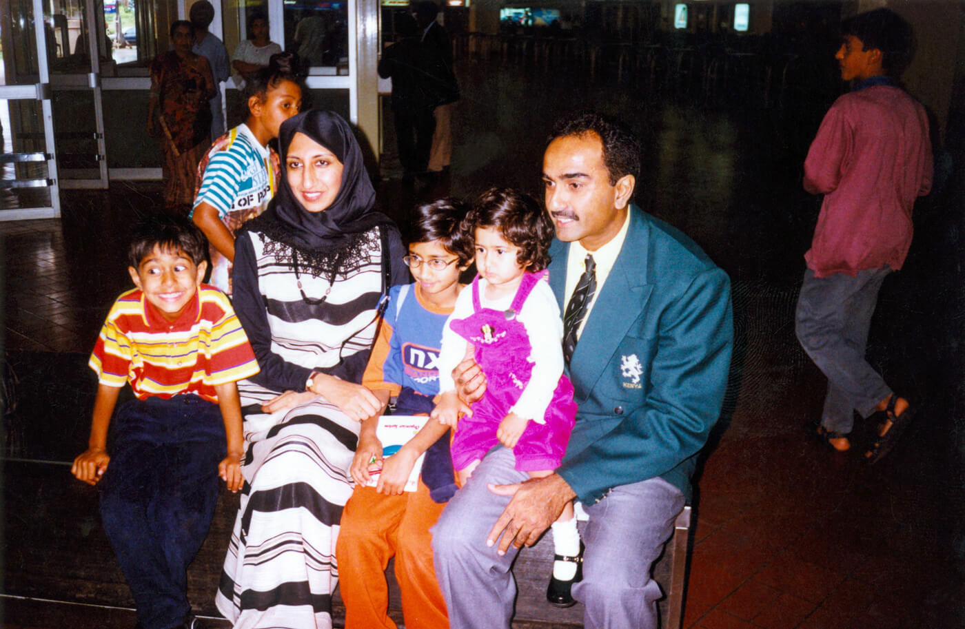 With his young family at Nairobi airport before leaving for the 1999 World Cup. Irfan Karim (aged seven then), who now plays for Kenya, sits at far left