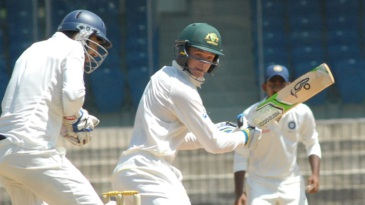 Peter Handscomb plays the ball behind point