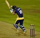 Graham Wagg takes a blow on the helmet, Glamorgan v Gloucestershire, NatWest T20 Blast, South Group, Cardiff, July 24, 2015