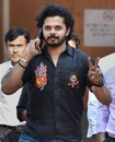 Sreesanth outside a Delhi court after charges were dropped against him, Delhi, July 25, 2015