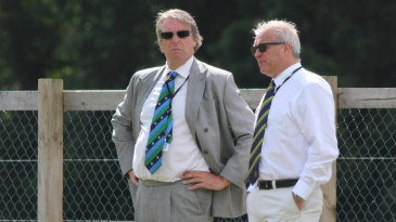 Giles Clarke speaks with Cricket Ireland chairman Ross McCollum during the first semi-final