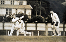 Trevor Barber sweeps during a knock for Wellington against Central Districts at the Basin Reserve in the 1950s