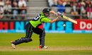 Andy Balbirnie leans forward to guide the ball, Ireland v Netherlands, World T20 Qualifier, 2nd semi-final, Malahide, July 25, 2015