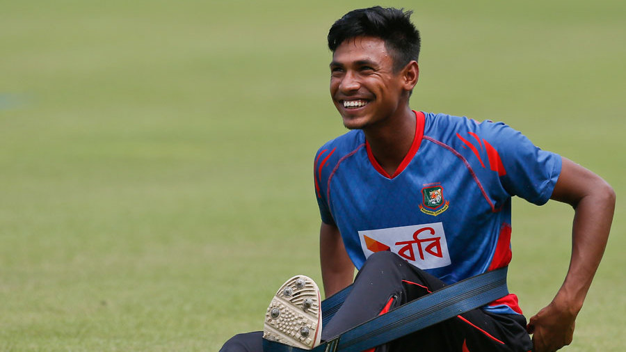 Mustafizur Rahman is all smiles during a practice session