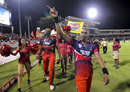 Trinidad & Tobago Red Steel captain Dwayne Bravo does a victory lap, Trinidad & Tobago Red Steel v Barbados Tridents, CPL 2015, final, Port-of-Spain, July 26, 2015