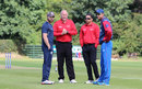 Preston Mommsen and Paras Khadka chat with the umpires regarding the playing conditions, Scotland v Nepal, ICC World Cricket League Championship, Ayr, July 29, 2015