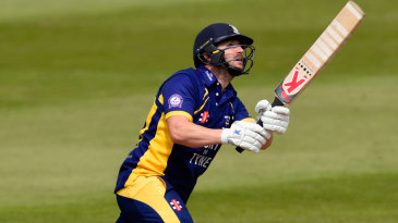 Mark Stoneman hits over the top on the way to his hundred