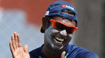Angelo Mathews has a laugh during a practice session