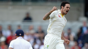 That familiar leap: Mitchell Johnson jumps with joy