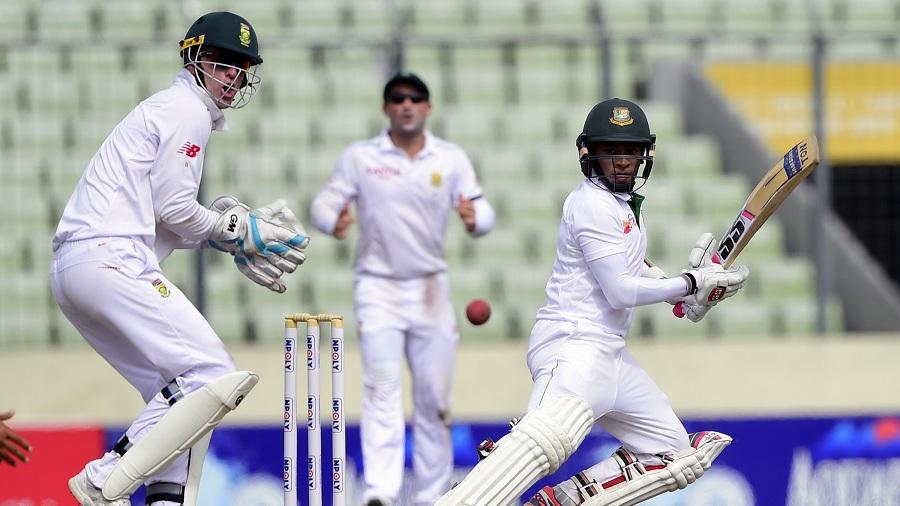Mushfiqur Rahim cuts the ball