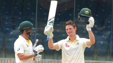 Cameron Bancroft celebrates after scoring his century