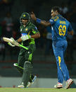 Angelo Mathews celebrates the wicket of Mukhtar Ahmed, Sri Lanka v Pakistan, 1st T20I, Colombo, July 30, 2015