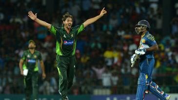 Anwar Ali celebrates the wicket of Kusal Perera