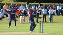 Mahesh Chhetri erupts for an appeal after Anil Mandal's direct hit to runout Richie Berrington, Scotland v Nepal, ICC World Cricket League Championship, Ayr, July 29, 2015