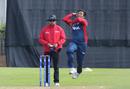 Karan KC leaps in to bowl, Scotland v Nepal, ICC World Cricket League Championship, Ayr, July 29, 2015