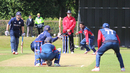 Basant Regmi bowls to Preston Mommsen, Scotland v Nepal, ICC World Cricket League Championship, Ayr, July 29, 2015
