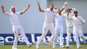 Stuart Broad got Peter Nevill to glove one behind but the umpire didn't think so