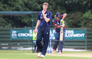 Alasdair Evans reacts after getting one to whiz past Paras Khadka, Scotland v Nepal, World Cricket League Championship, Ayr, July 31, 2015