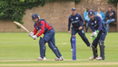 Prithu Baskota plays it into the leg side, Scotland v Nepal, World Cricket League Championship, Ayr, July 31, 2015