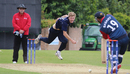 Gavin Main bowls to Basant Regmi, Scotland v Nepal, World Cricket League Championship, Ayr, July 31, 2015
