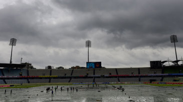 Persistent rain delayed the start of play on the third day