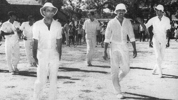 (From left) KVR Murthy, PK Belliappa and K Bharadwaj walk out for a Jolly Rovers match
