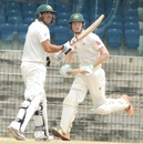 Cameron Bancroft and Usman Khawaja chased down the target of 61 in 6.1 overs, India A v Australia A, 2nd unofficial Test, Chennai, 4th day, August 1, 2015