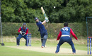 Matthew Cross smashes the ball down the ground, Scotland v Nepal, ICC World Cricket League Championship, Ayr, August 1, 2015