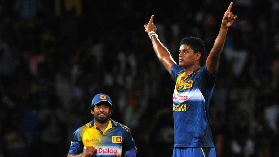 Binura Fernando does an Afridi after taking a wicket