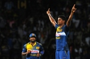 Binura Fernando does an Afridi after taking a wicket, Sri Lanka v Pakistan, 2nd T20, Colombo, August 1, 2015