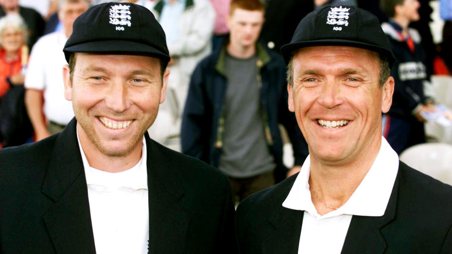 Michael Atherton and Alec Stewart at the start of their 100th Test