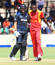 Ross Taylor and Chris Mpofu share a lighter moment, Zimbabwe v New Zealand, 1st ODI, Harare, August 2, 2015