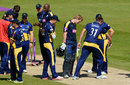 Jimmy Adams and Michael Hogan inspect the pitch, Glamorgan v Hampshire, Royal London Cup, Group B, Cardiff, August 2, 2015